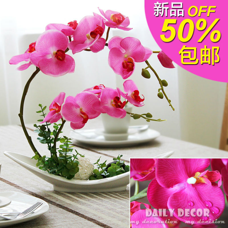 Real Touch Felt Artificial Orchid Flowers Suit Handmade