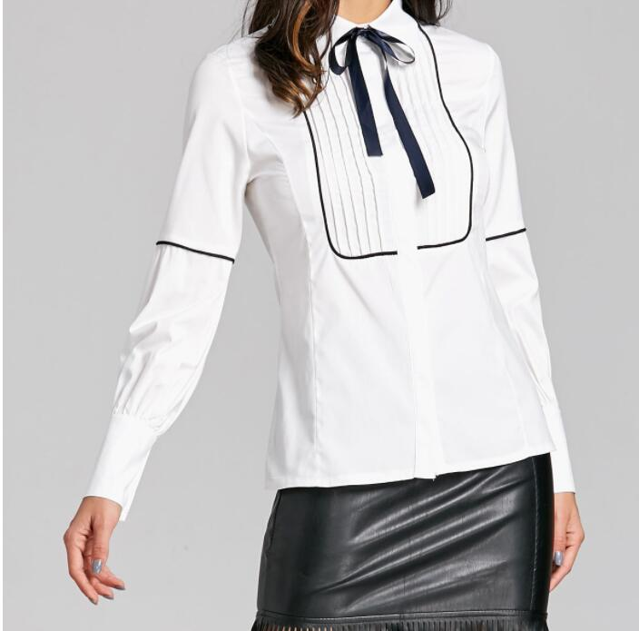2019 New Fashion Spring Casual Women Long Sleeve Bow Solid Bow Collar Lantern Sleeve Slim Femininas Office Lady Style Shirts Top in Blouses amp Shirts from Women 39 s Clothing