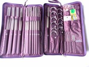 Image 1 - Retail Ring Needles Crochet Hooks Stainless Straight Needles Set Knit Weave Stitch Knitting Craft Case Circular Needle