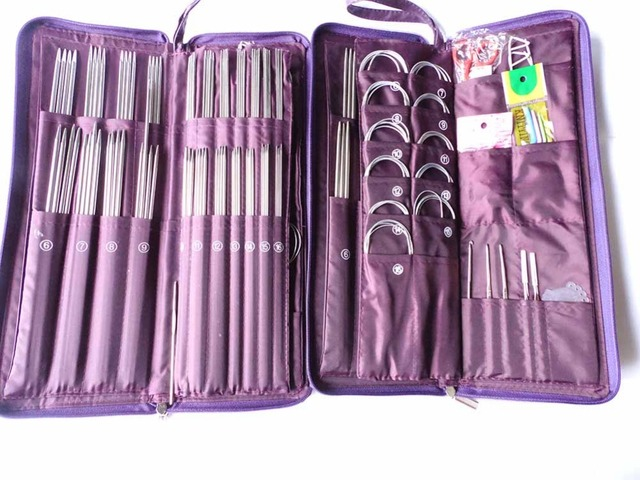 Retail Ring Needles Crochet Hooks Stainless Straight Needles Set Knit Weave Stitch Knitting Craft Case Circular Needle