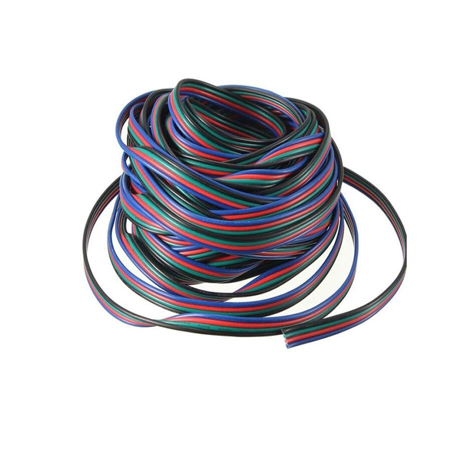 1 м 5 м 10 м 20 м 4 Pin Расширение RGB + черный провод кабель для 5050 2835 smd RGB Светодиодные ленты RGB контроллер