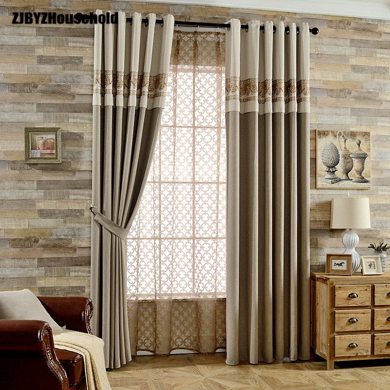 Modern Chinese Style More Pure Color Shading Curtain All French Window Curtains For Living Dining Room Bedroom