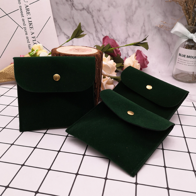 Dark Green Jewelry Velvet Bag With Dark Buckle Wedding Jewelry Packing Envelope Pouch 8x8 11x11cm Double Sided Velvet Black