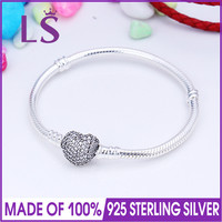LSLuxury 100% 925 Sterling Silver Pave Heart Moments Silver Bracelet & Clear CZ for Women Fit Original Beads Charm W