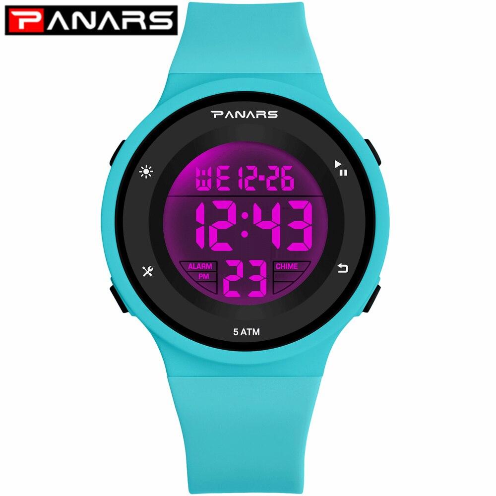 PANARS 6 LED Colors Fashion Kids Watch WR50M Waterproof Children's Wristwatch Alarm Clock Multi-function Watches For Girls Boys