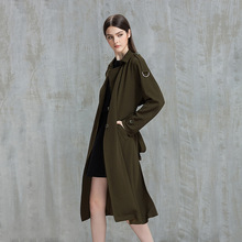 Autumn Winter Trench Coat Runway Elegant Long Green Coats 2017 Fall Womens Outwear Windbreakers Coats Women Tweed Clothing Cape