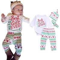 High Quality Kids Christmas Clothing 4PCS Baby Boy Girl Christmas Gift Outfits Romper Deer Pants Legging