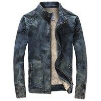 England Style Men's Cotton Denim Jackets Brand Designer Fashion Man Jean Jacket Coats Slim Fit Winter Warm Velvet Jackets C1429