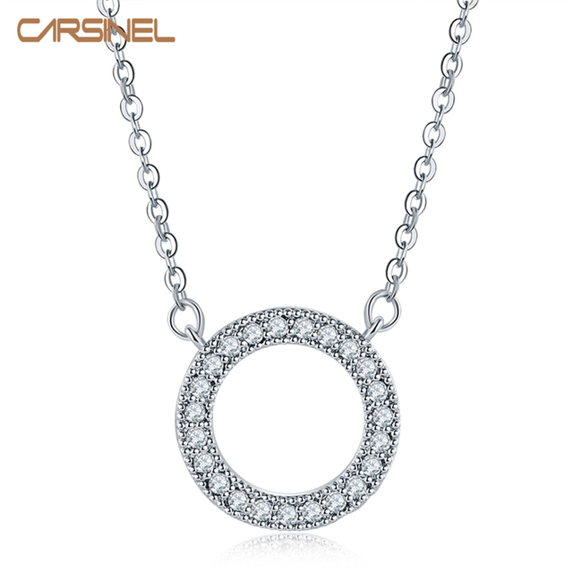 CARSINEL Brand 5 colors Round Shape Vintage Dazzling Allure AAA Zircon Necklaces & Pendants Classic Silver color Jewelry