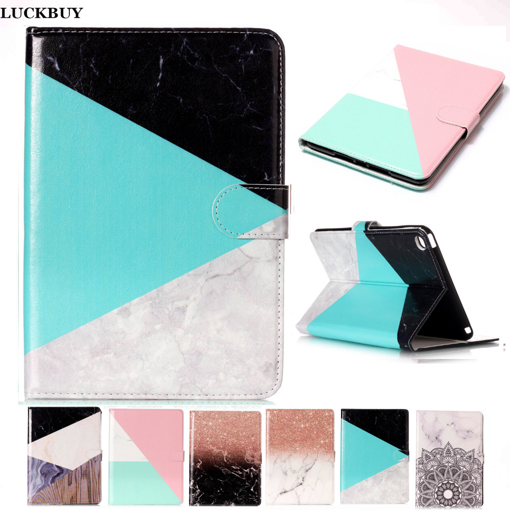 LUCUBUY Mini4 Marble Pattern PU Leather Flip Case For Apple iPad mini 4 Case Smart Cover Tablet Stand Original Ultra Slim Shell