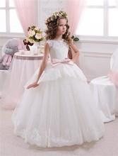 Nieuw kant bloem meisje jurken met roze riem baljurk vloer lengte meisjes eerste communie jurk prinses jurk 2-14 oud voor meisjes