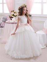 Yeni Dantel Çiçek Kız Elbise Pembe Kemer Ile Balo Kat uzunluk Kız İlk Communion Elbise Prenses Elbise 2-14 Eski Kız için