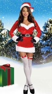 Бесплатная доставка Красный Вельветовое платье школа секса пикантные Костюмы для девушек Рождество Санта Для женщин Косплэй карнавал Анге... ...