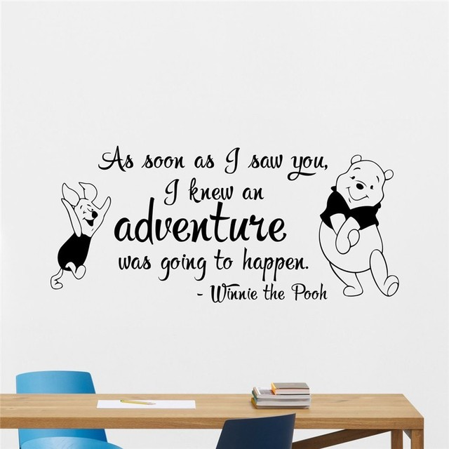 Free Shipping Winnie The Pooh Wall Decal Quote Lettering Vinyl Sticker Wall  Decor Cool Wall Art