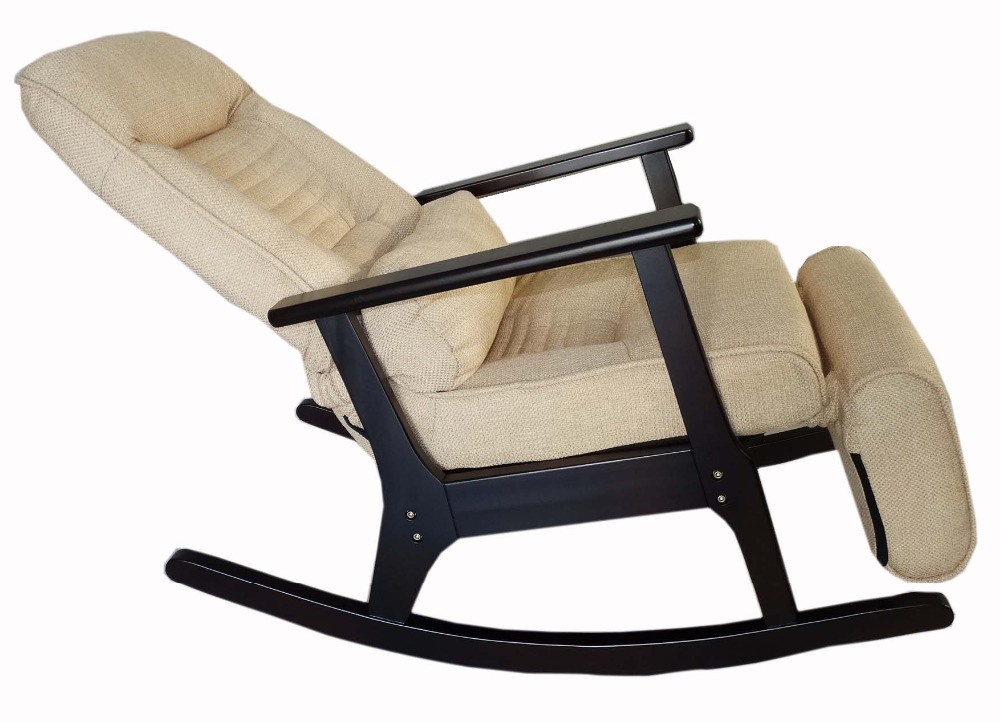 Wooden Rocking Recliner For Elderly People Japanese Style Recliner Chair with Foot Stool Armrest Modern Wooden