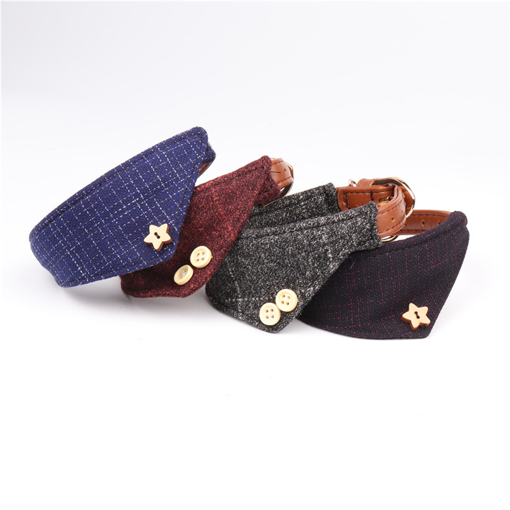 12pcs/lot Classic handsome plaid style dog collar bow tie pet pupply product dog collar towel leash set necklace S Set