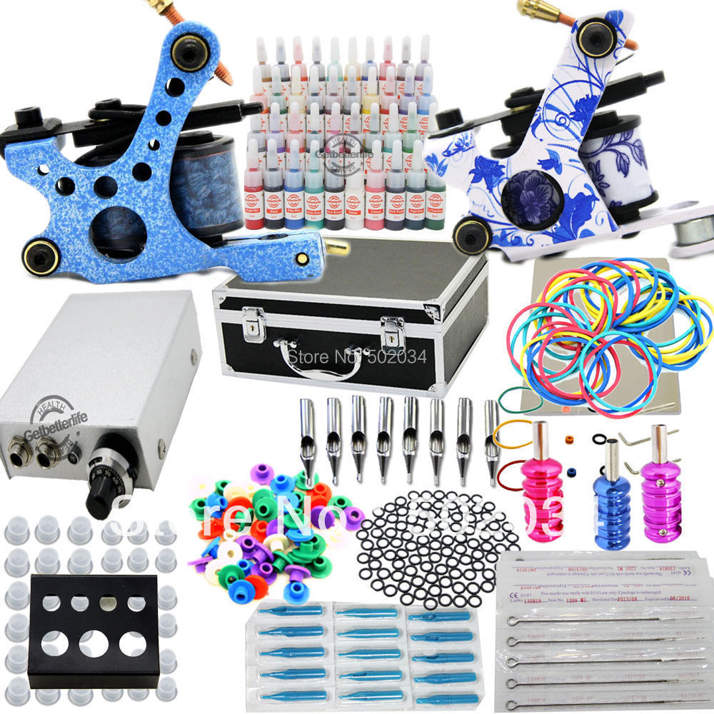Starter Tattoo Kit 40 Inks 2 Machine Guns Grips Needles Tips Power Set Equipment Supplies for