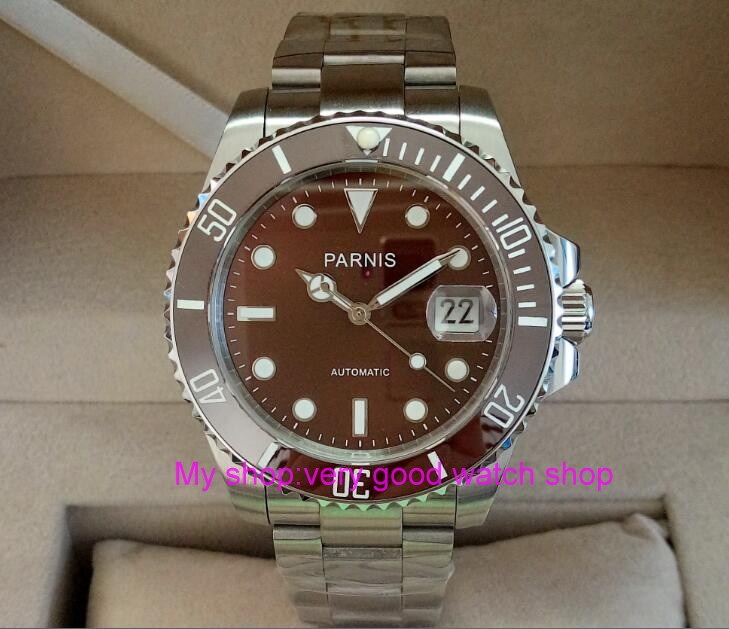 40mm PARNIS Sapphire Crystal   Automatic machinery movement men's watch coffee color rotateing Ceramic bezel 306