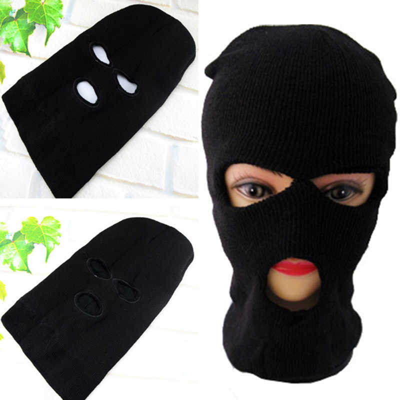 6e1f68b4aa142 Sale High Quality Unisex 3 Hole Ski Mask Caps Balaclava Black Knit Face  Shield Beanie Snow