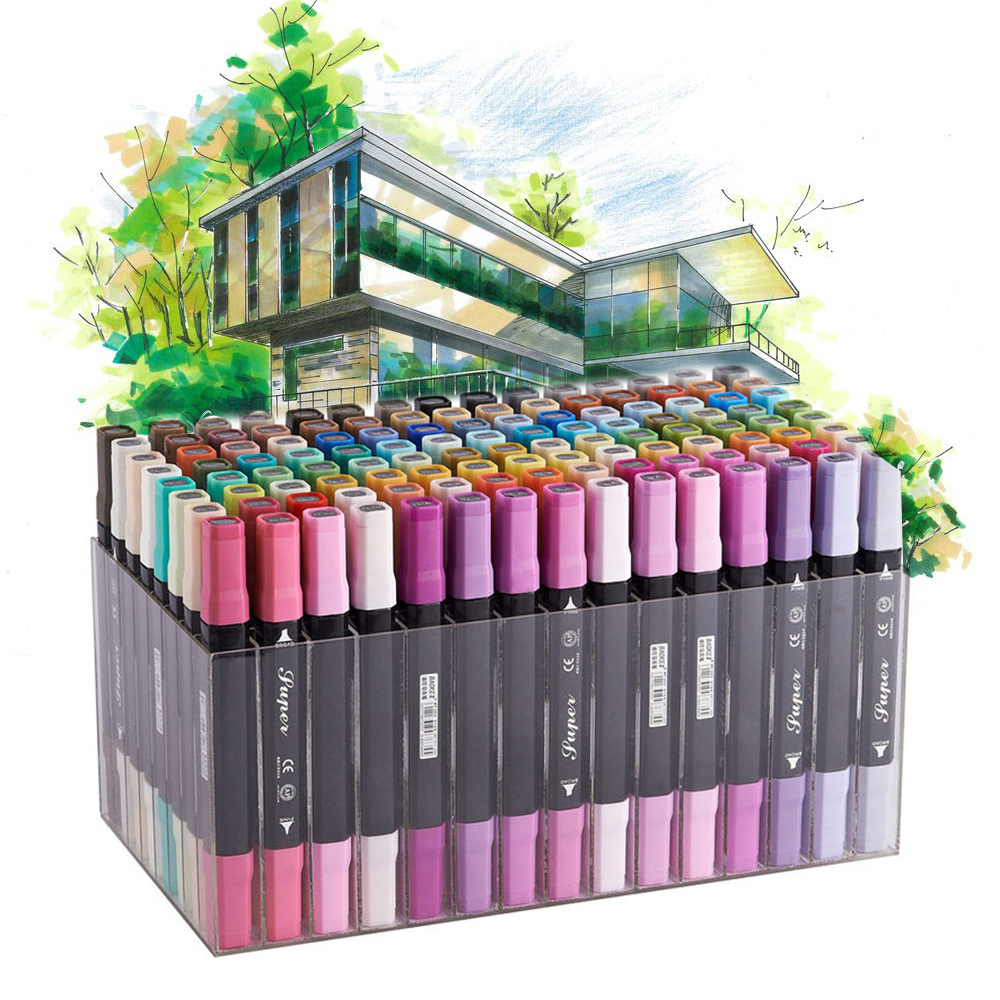 12/24/36/48/72/96/120 Colors Sketch Markers Dual Head Professional Art markers Set For Manga Marker Office school supplies sta 24 colors artist dual head sketch marker set alcohol based animation manga art markers for school supplies