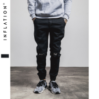 INFLATION New Ripped Frayed Pants For Men Skinny Destroyed Famous Hip Hop Black Men Joggers Pants