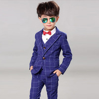 Children Gentleman Formal Clothing Boy Weddings Prom Suits 4PCS Kids Wedding Dress For Boys Clothes Set 3 4 5 6 7 8 9 10 11 Year