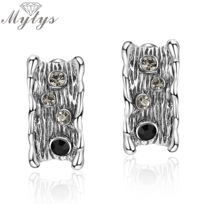 Mytys Vintage Style Antique Earrings for Women Grey Color Old Retro Jewelry Gift for Mother and Girlfriend CE348