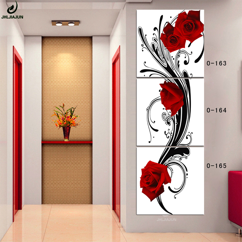 Jhljiajun Canvas Modular Painting Wooden Frame Red Rose