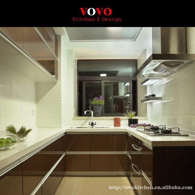 Más nuevo diseño de alto brillo lacado gabinetes de cocina color ...