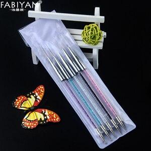 Image 3 - 5 boyutu Nail Art süsleyen kalem akrilik Rhinestone kristal 2 yollu UV jel boyama manikür aracı çizim astar çiçek fırça dekorasyon