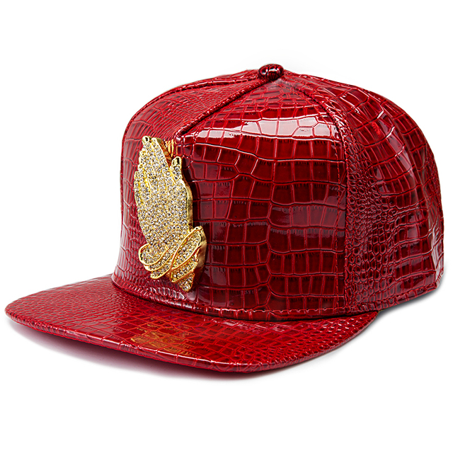 Brand Golden Bone Diamond Baseball Hat Praying Hands Hip Hop Red Silver Crocodile PU Faux Reta Snapback Cap Women Casquette Cap
