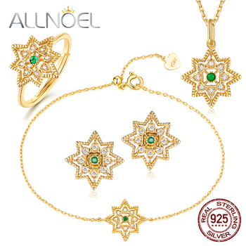 ALLNOEL 925 Sterling Silver Real Emerald Jewelry Sets Stud Earrings Necklace Bracelet Ring Snowflake Charm Wedding Fine Jewelry