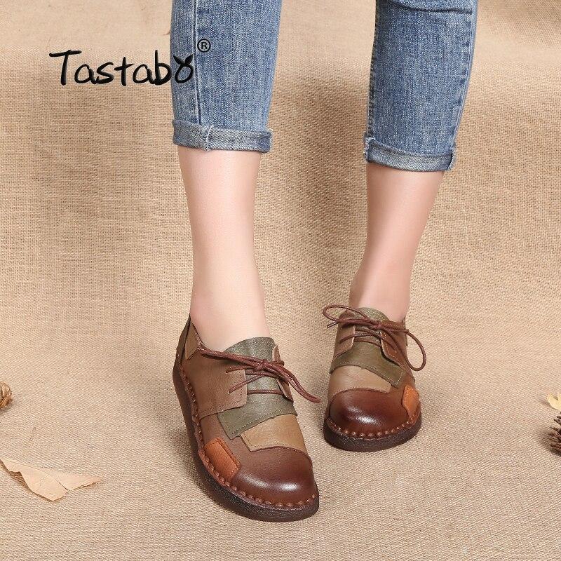 Tastabo из натуральной кожи обувь на плоской подошве для беременных женская обувь для мам обувь для вождения женские мокасины Туфли без каблук...