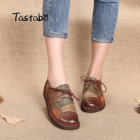 Tastabo Genuine Leather Flat Shoe Pregnant Women Shoe Mother Driving Shoe Female Moccasins Women Flats Hand Sewing Shoes