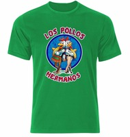 Fashion LOS POLLOS HERMANOS T Shirt Men Breaking Bad Chicken Brothers Cotton T Shirt Man Harajuku