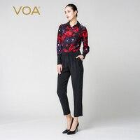 VOA Шелковый комбинезон женский комбинезон enteritos largos de mujer элегантные комбинезоны шаровары с длинным рукавом женская уличная одежда K6360