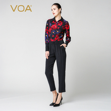 hot deal buy voa autumn red print jumpsuits for women black long sleeve turn down regular bodysuit luxury ladies silk satin jumpsuits k6360