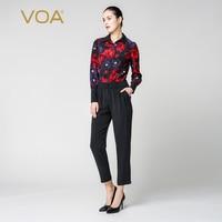 VOA Silk Jumpsuit combinaison femme enteritos largos de mujer Elegant Jumpsuits Harem Pants Long Sleeve Ladies Streetwear K6360
