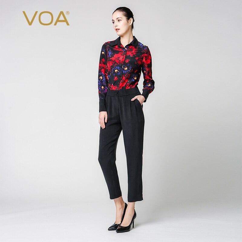 VOA Zijde Jumpsuit combinaison femme enteritos largos de mujer Elegante Jumpsuits Harembroek Lange Mouw Dames Streetwear K6360