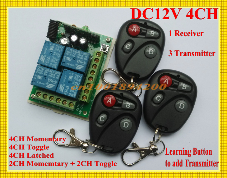 DC12V 4CH Remote Control Lighting Switches 10A Relay Receiver + 3 Transmitter Learning Code M4 T4 L4 2M4 2T4 adjustable  315/433 remote control switches dc 12v 2ch receiver long range remote control transmitter 50 1000m 315 433 rx tx 2ch relay learning code