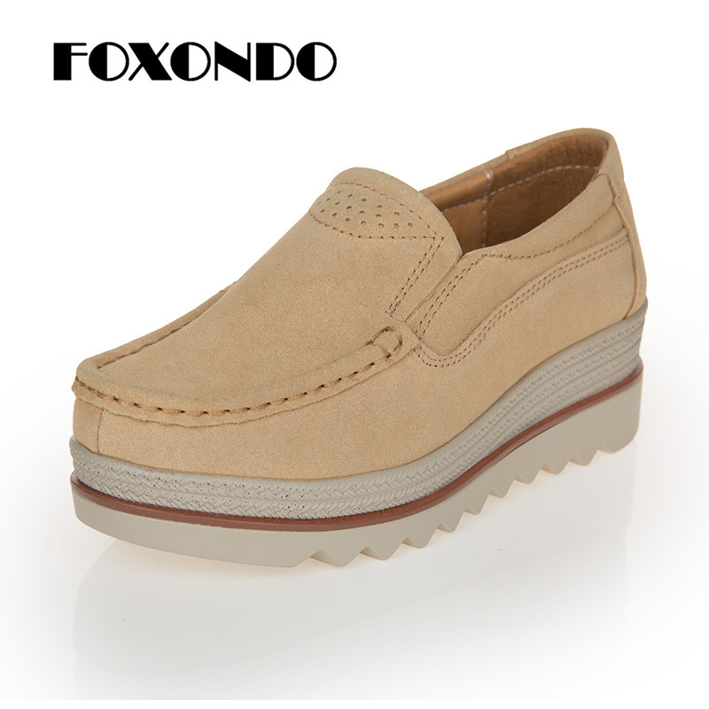 FOXONDO 2018 Autumn women flats shoes platform sneakers shoes   leather     suede   casual shoes slip on flats heels creepers moccasins