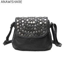 ANAWISHARE заклепки сумки через плечо для женщин сумка маленькая кожаная сумки на плечо женские сумки Bolsa Feminina Bolsos Mujer