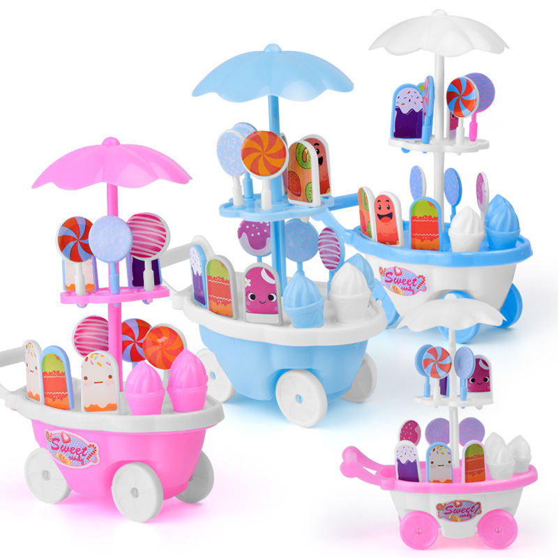 1 Set Children Kids Girl Toy Trolley Role Play Mini Simulation Birthday Gift Fun Game YJS Dropship image