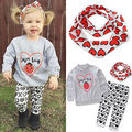 2016 Baby Girls Kids Toddler Long Sleeve Shirt Tops+XO Pants 3Pcs Outfit Clothing Set Children Clothes Set