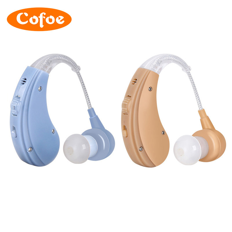 Cofoe Wireless Invisible Hearing Aid Earphone for Old People Hearing Loss Rechargeable Deafness Hard of Hearing Skin Blue Color guangzhou feie deaf rechargeable hearing aids mini behind the ear hearing aid s 109s free shipping