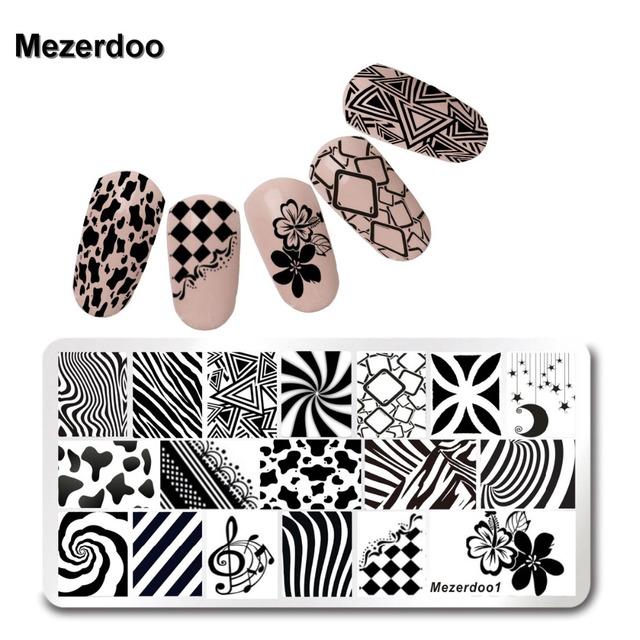 Mezerdoo Triángulo Patrón Nail Art Sello Estampado de Placas Set Plantilla 6*12 cm Lindo Zerbra Flor Del Cordón de Rose Imagen manicura Placas