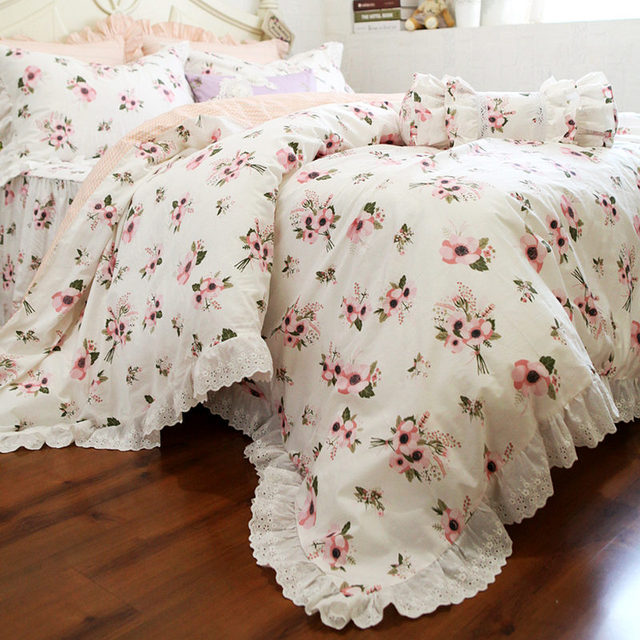 YSH One Bunch Flower Print Bedding Set Lace Decorative Bedding Ruffle Duvet  Cover Bed Sheet Set