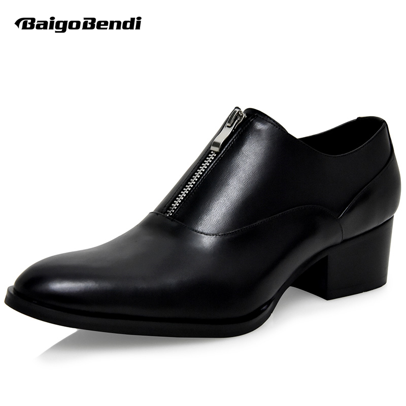 Mens Height Increasing Wedding Shoes Business Man High Heel Formal Dress Shoes Trendy Zip Oxfords Heighten Shoes Party