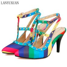 Sandalias Mujer Big Size 34-51 New 2017 Summer Style Ankle-strap Rainbow Color Women High Heel Sandals Pointed Toe Shoes E-1283