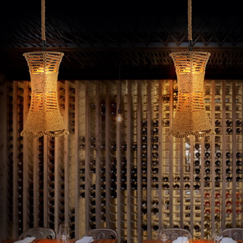 ФОТО A04 Vintage Metal Hemp Rope Pendant Light Industrial Edison Lamp Loft Coffee Bar Restaurant Kitchen Dining Room Lamp